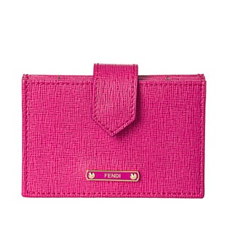 Fendi Pink Saffiano Leather Accordion Card Case