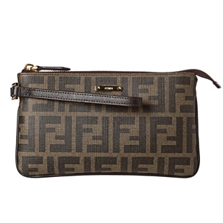 Fendi Tobacco Coated Canvas Zucca Print Wristlet