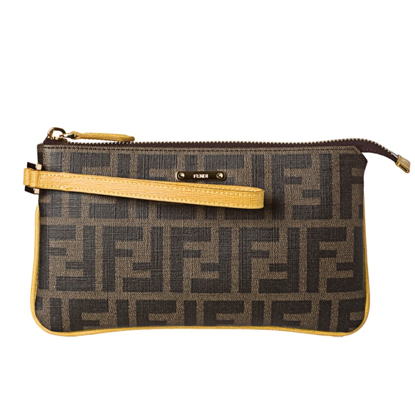 Fendi Tobacco and Yellow Coated Canvas Zucca Print Wristlet