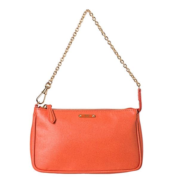 Fendi 'Crayon' Tangerine Saffiano Leather Pouchette Bag