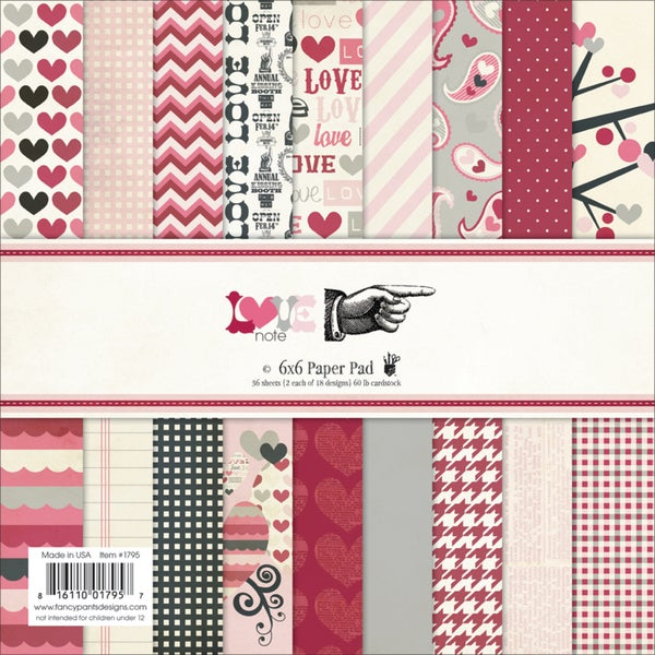 """Love Note Paper Pad 6""""X6"""" 36/Sheets-18 Designs/2 Each"""