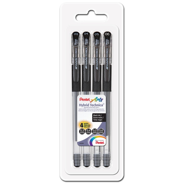 Hybrid Technica Pigment Ink Pen 4/Pkg-Black