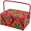 Floral-Pattern Rectangle Sewing Basket - 12-1/2
