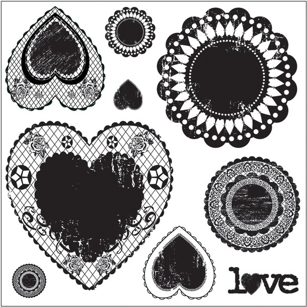 """Clear Photopolymer Stamps 4""""X4""""-Antique Love Doilies 9 Images"""