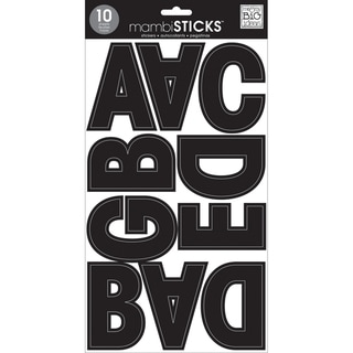 "Mambi Large Alphabet Stickers 10 Sheets 7""X12""-Black"