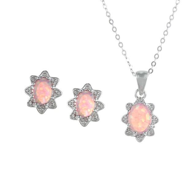 La Preciosa Sterling Silver Created Pink Opal Oval Jewelry Set