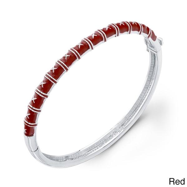Sterling Silver Colored Enamel Bangle Bracelet 10523327