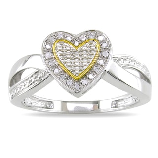 M by Miadora Sterling Silver Two-Tone Diamond Heart Ring
