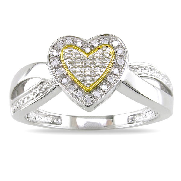 Haylee Jewels Sterling Silver Two-Tone Diamond Heart Ring
