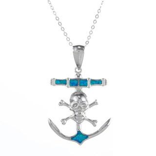 La Preciosa Silver Created Blue Opal Skull/ Crossbones Anchor Necklace