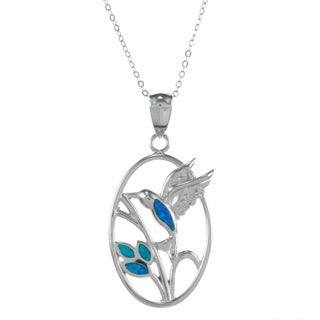 La Preciosa Sterling Silver Created Blue Opal Hummingbird Necklace