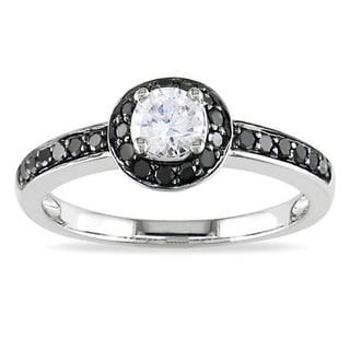 Miadora 10k White Gold Round-cut White Sapphire and 1/4ct TDW Black Diamond Ring
