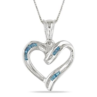Miadora Sterling Silver 1/8ct TDW Blue Diamond Heart Necklace