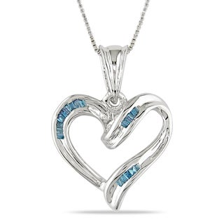 M by Miadora Sterling Silver 1/8ct TDW Blue Diamond Heart Necklace