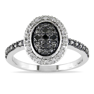 Haylee Jewels Sterling Silver Black Diamond Accent Ring