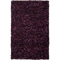 Hand-woven Thetford Purple Wool Recycled Fiber Shag (8' x 11')