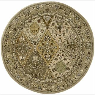 Hand-Tufted Nourison 2000 Curved Diamonds Light Gold Rug (4' Round)