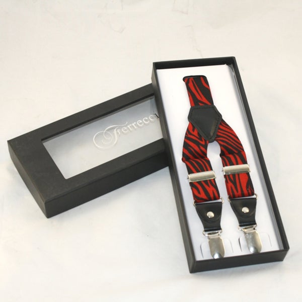 Ferrecci Men's Red and Black Zebra Print Suspenders