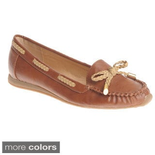 Henry Ferrera Women's Threaded Braid with Bow Loafer Flats