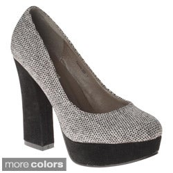 Henry Ferrera Women's Two-tone Block Heel Pumps