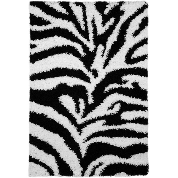Shag Animal Design Zebra Black/ White Area Rug (6'7 x 9'3)
