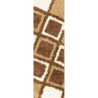 Shag Contemporary Geometric Boxes Brown Runner Rug (1'8 x 4'11)