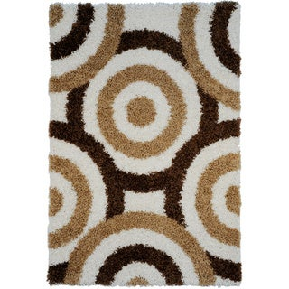 Shag Contemporary Circles Ivory Area Rug (6'7 x 9'3)