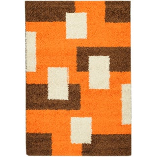 Shag Contemporary Boxes Orange Area Rug (5' x 7')