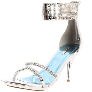 Celeste Women's 'Ayu' Silver Studded Ankle Sandals