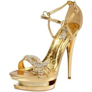 Celeste Women's 'Dena' Gold Crystal Embellished Heels