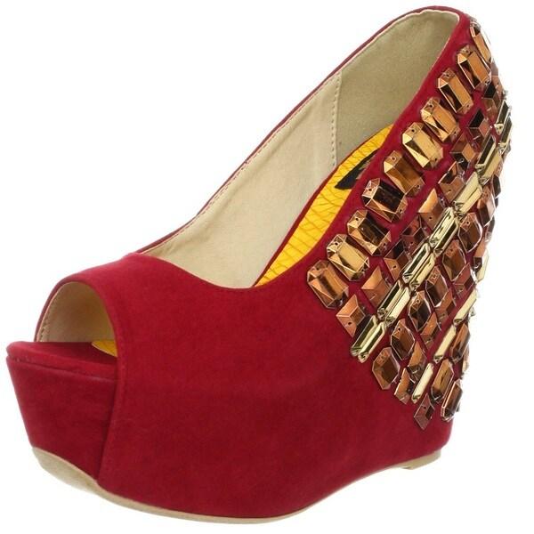 Fahrenheit Women's 'Janne' Red Jewel Embellished Peep-toe Wedges