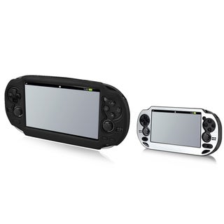 INSTEN Aluminum Case Cover/ Black Soft Silicone Case Cover for Sony PlayStation Vita