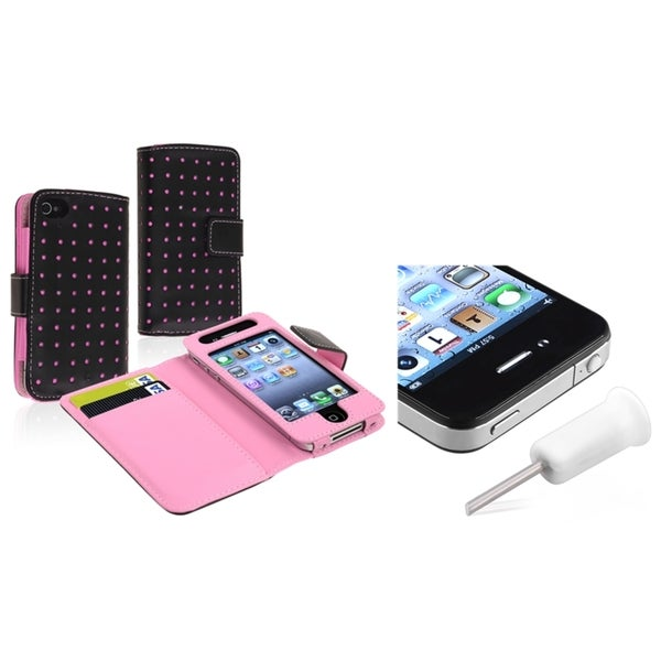 INSTEN Leather Wallet Phone Case Cover/ Headset Dust Cap for Apple iPhone 4/ 4S