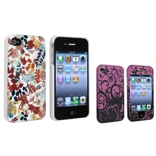 BasAcc Purple Black Swirl/ Autumn Leaves Case for Apple iPhone 4/ 4S