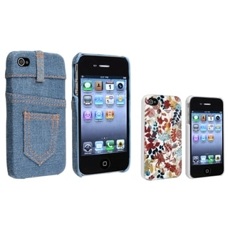 BasAcc Light Blue Jean Rear/ Autumn Leaves Case for Apple iPhone 4/ 4S