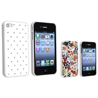 BasAcc White Diamond Gem/ Autumn Leaves Case for Apple iPhone 4/ 4S