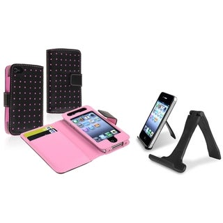 BasAcc Leather Wallet Case/ Mini Stand Holder for Apple iPhone 4/ 4S