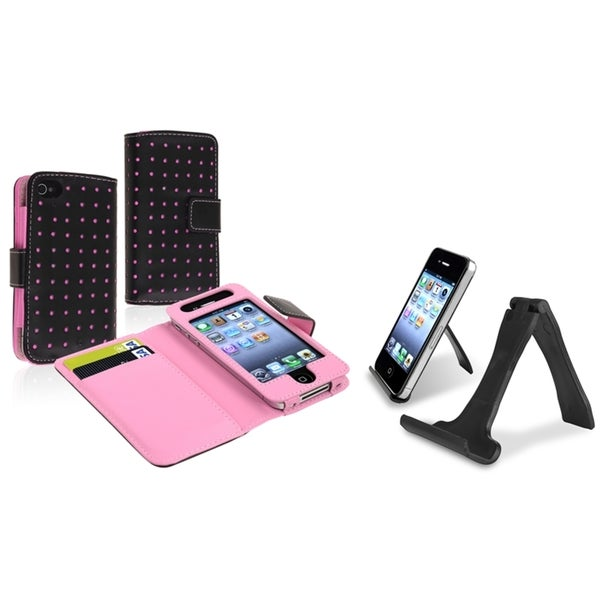INSTEN Leather Wallet Phone Case Cover/ Mini Stand Holder for Apple iPhone 4/ 4S