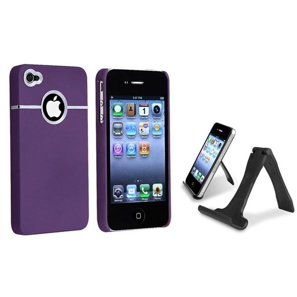 INSTEN Dark Purple Phone Case Cover/ Mini Stand Holder for Apple iPhone 4/ 4S