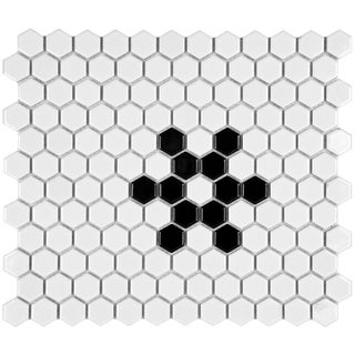 SomerTile 10.25x11.75-inch Victorian Hex 1-inch Glossy White Snowflake Porcelain Mosaic Tile (Pack of 10)