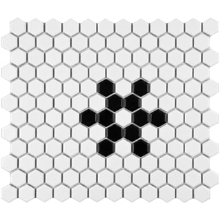 SomerTile 10.25x11.75-inch Victorian Hex 1-inch Matte White Snowflake Porcelain Mosaic Tile (Pack of 10)