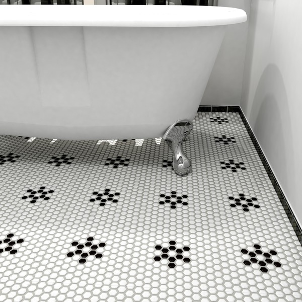 Hex Matte White Snowflake Porcelain Mosaic Floor And Wall Tile