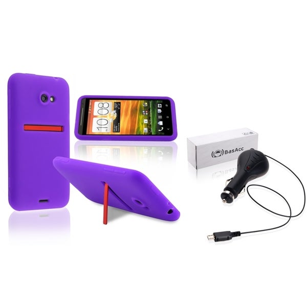 BasAcc Purple Silicone Case/ Retractable Car Charger for HTC EVO 4G