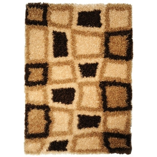 "Brown Geometric Super Soft Shag Area Rug (6'7"" x 9'3"")"