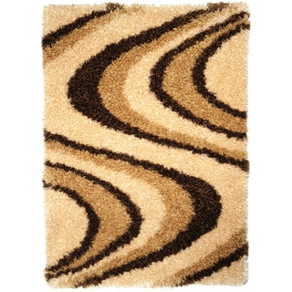 Champagne Contemporary Tribal Shag Area Rug (3'3 x 4'7)