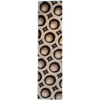 Brown Circle Design Shag Area Rug (1'8''x4'11'')