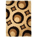 Brown Contemporary Circles Shag Area Rug (6'7 x 9'3)