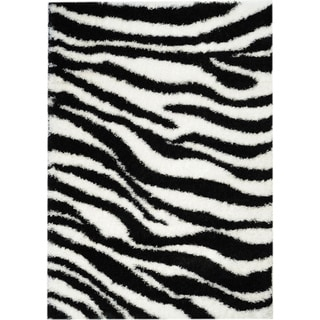 Black/ White Zebra Shag Area Rug (5' x 7')