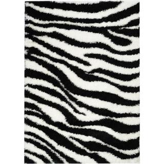 Black/ White Zebra Shag Area Rug (5' x 7')