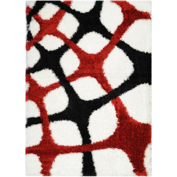 Black/ White Fishnet Design Area Rug (6'7x9'3)
